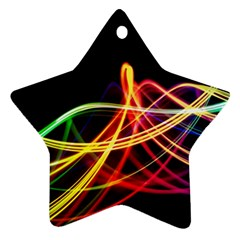 Vortex Rainbow Twisting Light Blurs Green Orange Green Pink Purple Star Ornament (Two Sides)