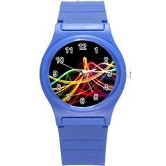 Vortex Rainbow Twisting Light Blurs Green Orange Green Pink Purple Round Plastic Sport Watch (S)