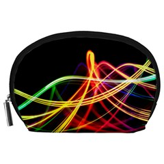 Vortex Rainbow Twisting Light Blurs Green Orange Green Pink Purple Accessory Pouches (Large)