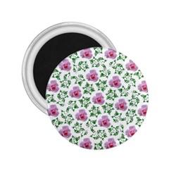 Rose Flower Pink Leaf Green 2.25  Magnets