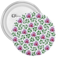 Rose Flower Pink Leaf Green 3  Buttons