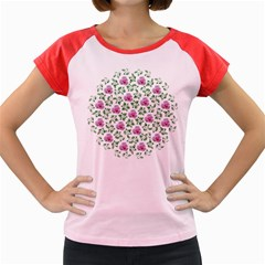 Rose Flower Pink Leaf Green Women s Cap Sleeve T-Shirt