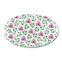 Rose Flower Pink Leaf Green Oval Magnet