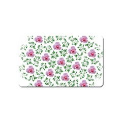 Rose Flower Pink Leaf Green Magnet (name Card)