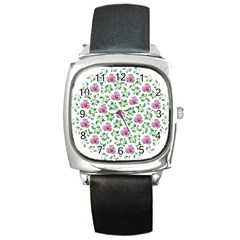 Rose Flower Pink Leaf Green Square Metal Watch