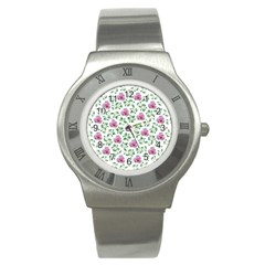 Rose Flower Pink Leaf Green Stainless Steel Watch