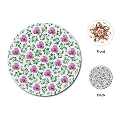 Rose Flower Pink Leaf Green Playing Cards (Round)