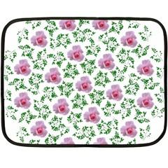 Rose Flower Pink Leaf Green Double Sided Fleece Blanket (Mini)