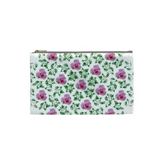 Rose Flower Pink Leaf Green Cosmetic Bag (Small)