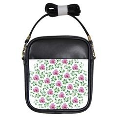 Rose Flower Pink Leaf Green Girls Sling Bags