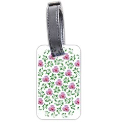 Rose Flower Pink Leaf Green Luggage Tags (Two Sides)