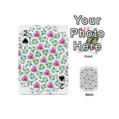 Rose Flower Pink Leaf Green Playing Cards 54 (Mini)