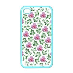 Rose Flower Pink Leaf Green Apple iPhone 4 Case (Color)
