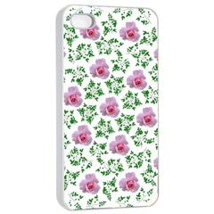 Rose Flower Pink Leaf Green Apple iPhone 4/4s Seamless Case (White)
