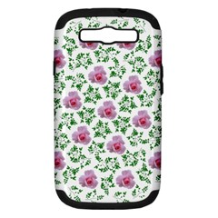Rose Flower Pink Leaf Green Samsung Galaxy S III Hardshell Case (PC+Silicone)