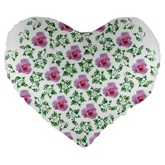 Rose Flower Pink Leaf Green Large 19  Premium Heart Shape Cushions