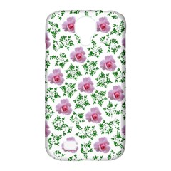 Rose Flower Pink Leaf Green Samsung Galaxy S4 Classic Hardshell Case (PC+Silicone)