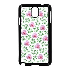 Rose Flower Pink Leaf Green Samsung Galaxy Note 3 Neo Hardshell Case (Black)