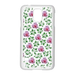 Rose Flower Pink Leaf Green Samsung Galaxy S5 Case (White)
