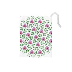 Rose Flower Pink Leaf Green Drawstring Pouches (small)