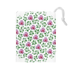 Rose Flower Pink Leaf Green Drawstring Pouches (Large)