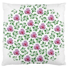 Rose Flower Pink Leaf Green Standard Flano Cushion Case (Two Sides)