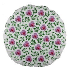 Rose Flower Pink Leaf Green Large 18  Premium Flano Round Cushions