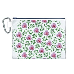 Rose Flower Pink Leaf Green Canvas Cosmetic Bag (L)