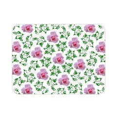 Rose Flower Pink Leaf Green Double Sided Flano Blanket (Mini)