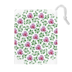 Rose Flower Pink Leaf Green Drawstring Pouches (Extra Large)