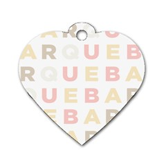 Alphabeth Rainbow Color Dog Tag Heart (two Sides)
