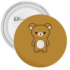 Bear Minimalist Animals Brown White Smile Face 3  Buttons