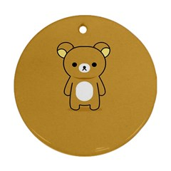 Bear Minimalist Animals Brown White Smile Face Ornament (round)