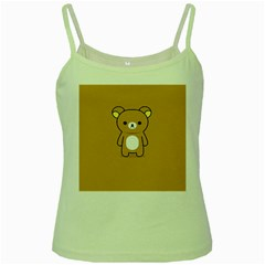 Bear Minimalist Animals Brown White Smile Face Green Spaghetti Tank