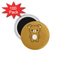 Bear Minimalist Animals Brown White Smile Face 1 75  Magnets (100 Pack)
