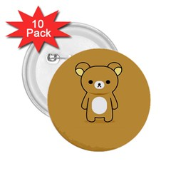 Bear Minimalist Animals Brown White Smile Face 2.25  Buttons (10 pack)