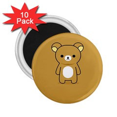 Bear Minimalist Animals Brown White Smile Face 2.25  Magnets (10 pack)