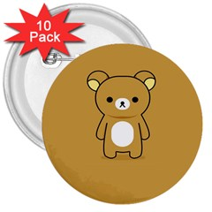Bear Minimalist Animals Brown White Smile Face 3  Buttons (10 pack)