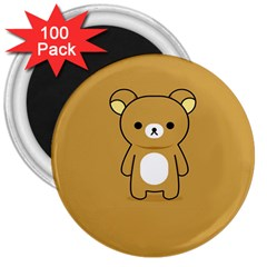 Bear Minimalist Animals Brown White Smile Face 3  Magnets (100 pack)