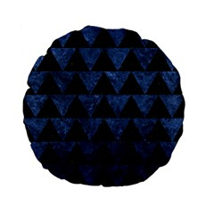 Triangle2 Black Marble & Blue Stone Standard 15  Premium Flano Round Cushion