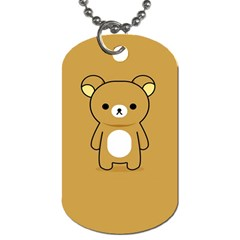 Bear Minimalist Animals Brown White Smile Face Dog Tag (Two Sides)