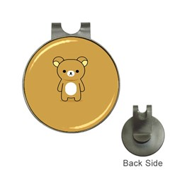 Bear Minimalist Animals Brown White Smile Face Hat Clips with Golf Markers