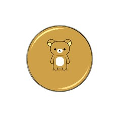 Bear Minimalist Animals Brown White Smile Face Hat Clip Ball Marker (4 Pack)