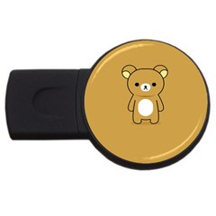 Bear Minimalist Animals Brown White Smile Face Usb Flash Drive Round (4 Gb)