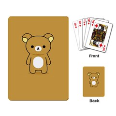 Bear Minimalist Animals Brown White Smile Face Playing Card