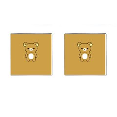 Bear Minimalist Animals Brown White Smile Face Cufflinks (square)