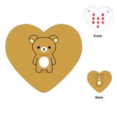 Bear Minimalist Animals Brown White Smile Face Playing Cards (Heart)
