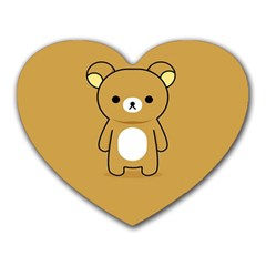 Bear Minimalist Animals Brown White Smile Face Heart Mousepads