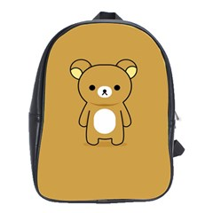 Bear Minimalist Animals Brown White Smile Face School Bags(Large)
