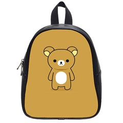 Bear Minimalist Animals Brown White Smile Face School Bags (Small)